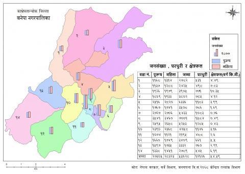 बनेपा नगरपालिका जनसंख्या घरधुरी र क्षेत्रफल सहितको नक्शा
